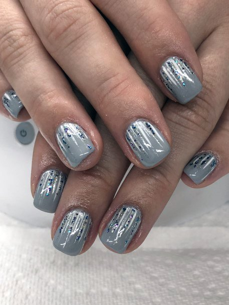 Grey With Blue Sparkles Snow Nails Women