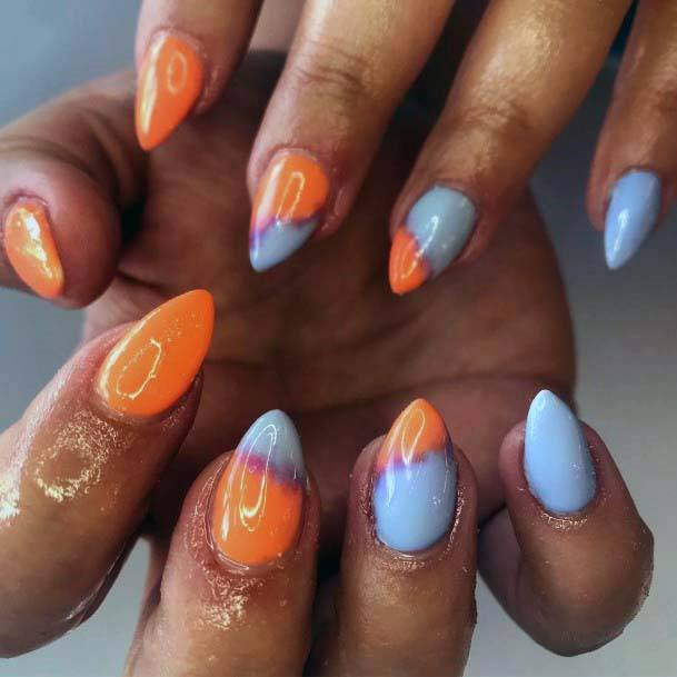 Greyish Blue And Orange Nails For Women