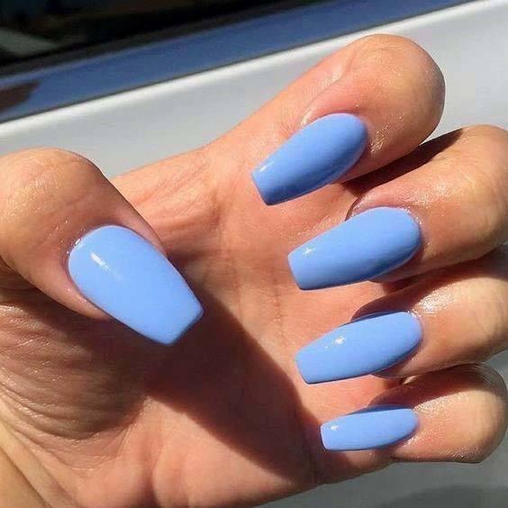 Greyish Blue Bright Nails For Women