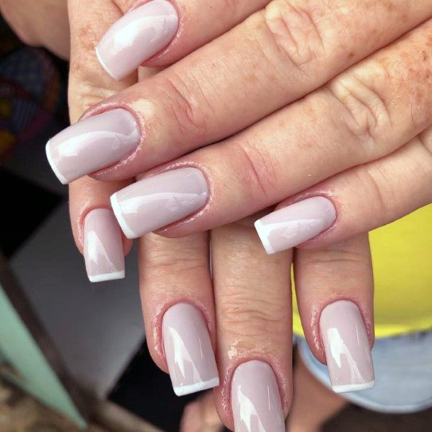 Greyish Tone Natural Nail Ideas French Manicure Art For Women