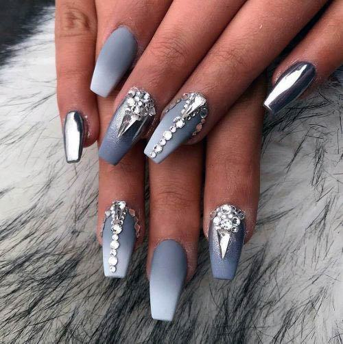 Greyish White Ombre Nails With Stones Women