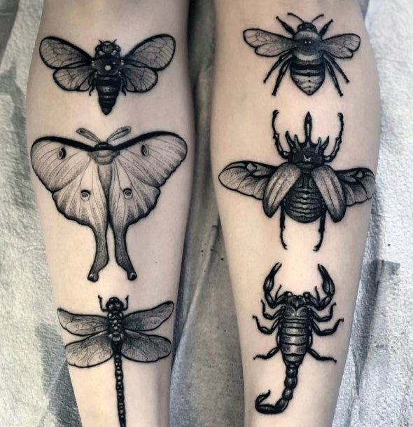Growth Stages Bee Tattoo For Women