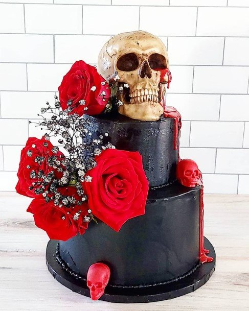 Hair Raising Skull And Roses Halloween Wedding Cakes