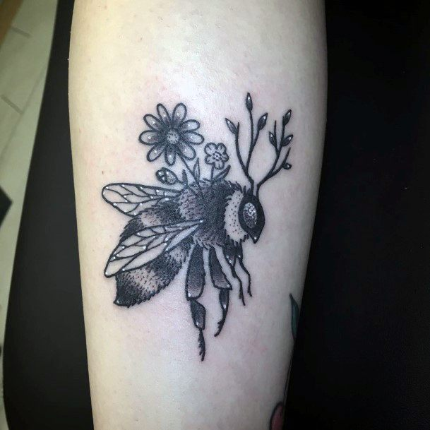Hairy Big Bee Tattoo For Women