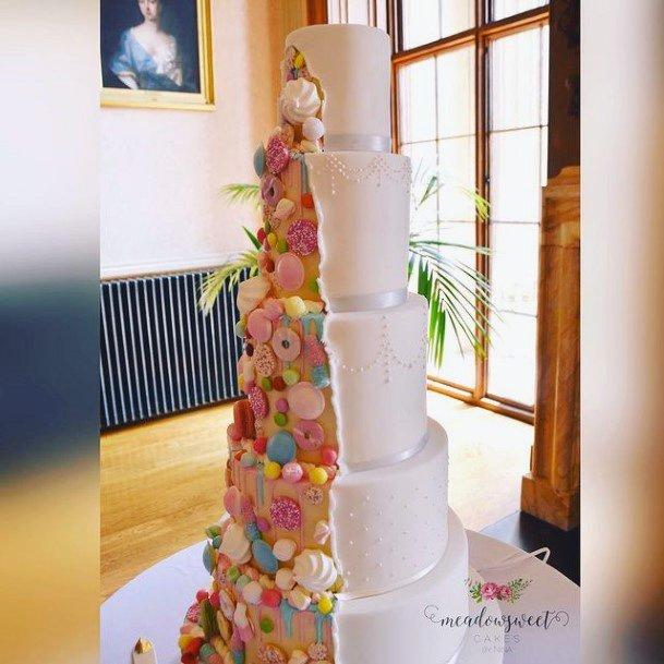 Half And Half Colors And White Unique Wedding Cake