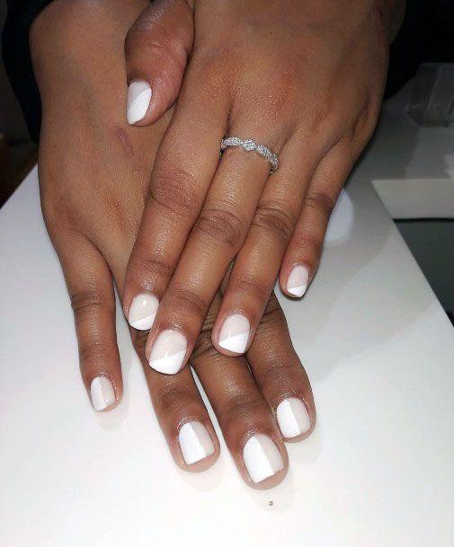 Half And Half Cream White Gel Nails Women