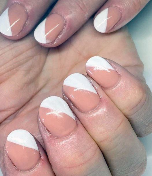 Half And Half White Gel Nails Women