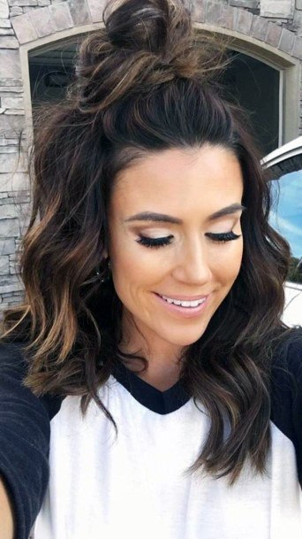 Half Bun On Dark Brown Hair Medium Length Hairstyles Woman