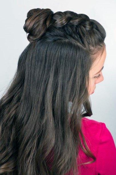 Half Dutch Top Knot Brunette Haistyle For Women