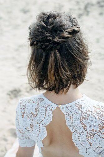 Half Up Half Down Hairstyles Simple Twist Half Updo On Crown Short Hair