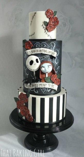 Halloween Black And White Wedding Cakes