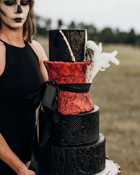 Halloween Wedding Cake With Bow Tie