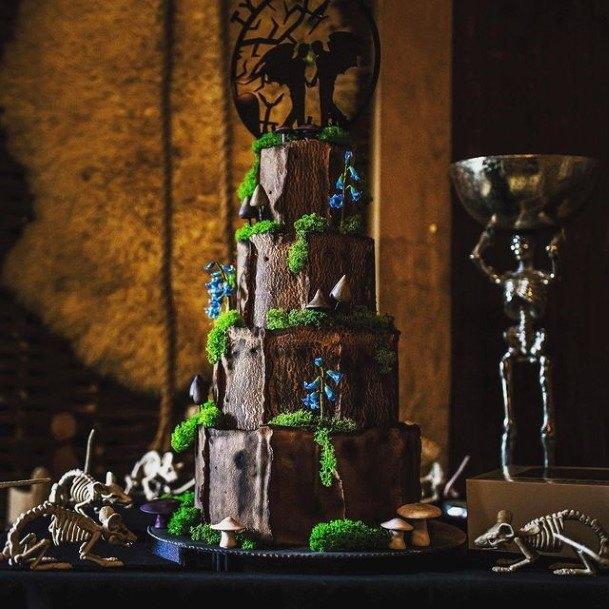 Halloween Wedding Cake With Striking Blue Flowers