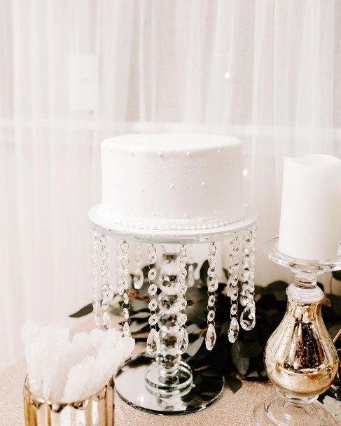 Hanging Crystals White Wedding Cake