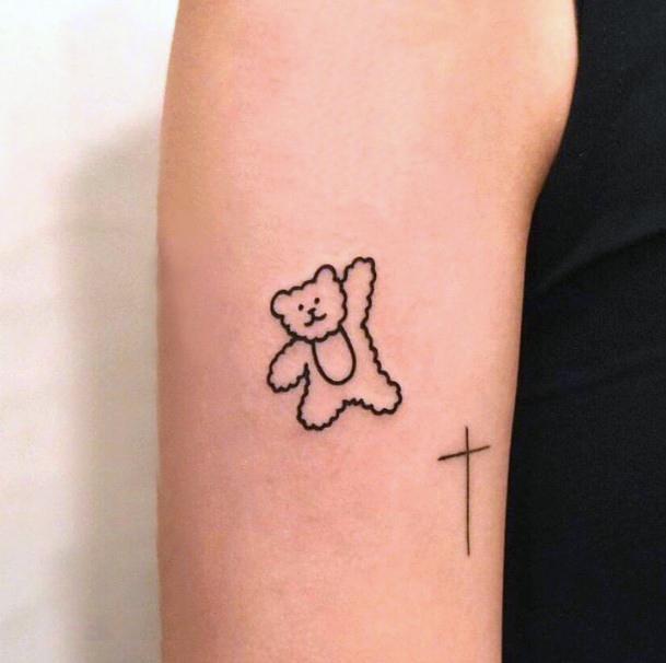 Happy Bear Tattoo For Women Arms Art