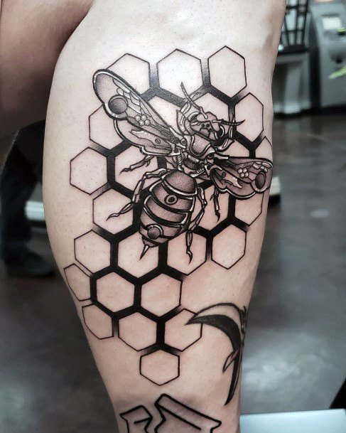 Hardworking Bee And Hive Tattoo Women