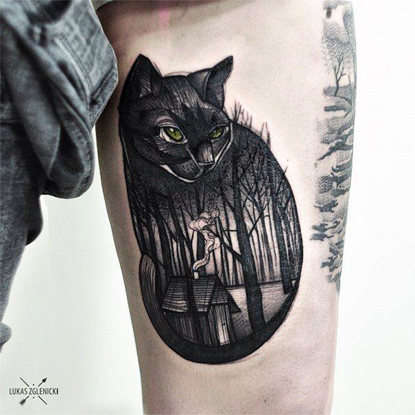 Haunted Forest Cat Tattoo Women Thighs