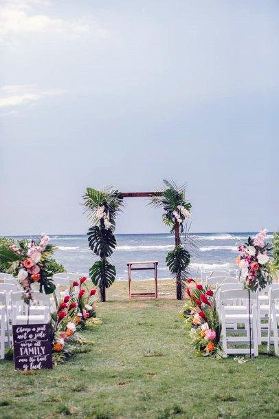 Hawaiian Green Wedding Flowers Arch