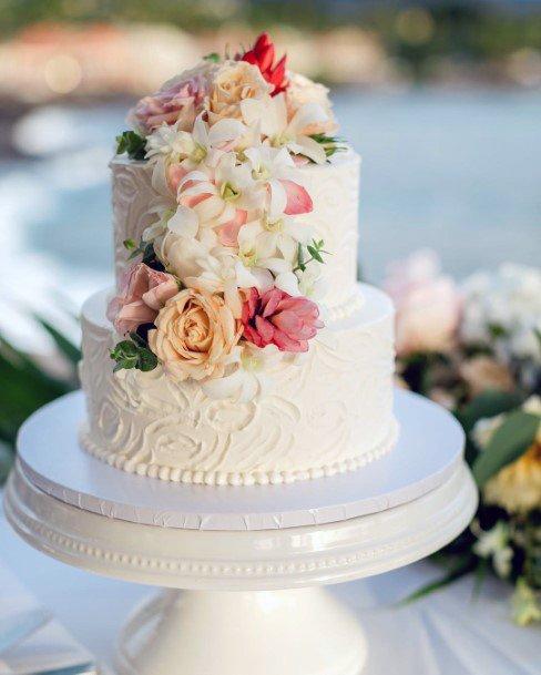 Hawaiian Wedding Flowers On Cake