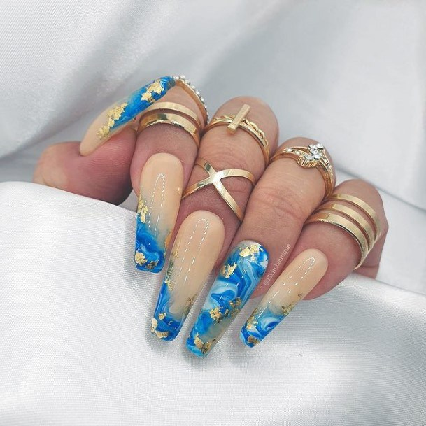 Hazel And Blue Water Nails With Gold Women Art