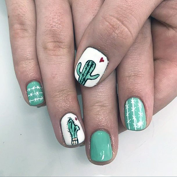 Heart And Cactus Nails Women