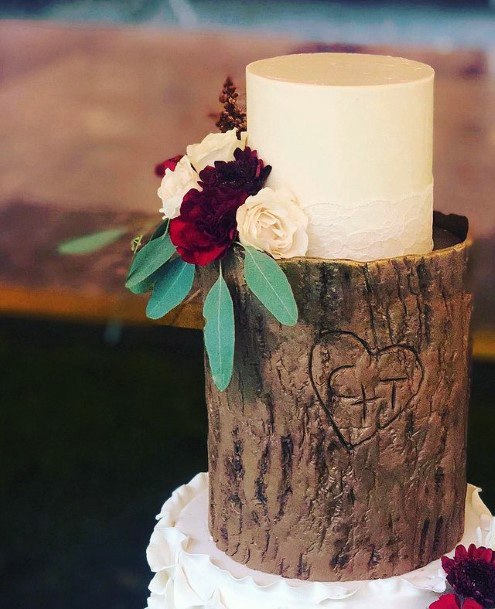 Heart Engraved Tree Fall Wedding Cakes Women