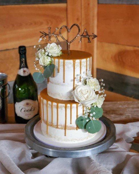 Heart Shape Rustic Wedding Topper Cake