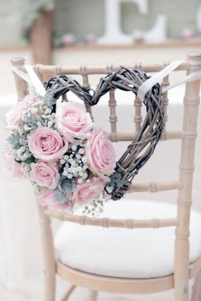 Heart Shaped Decor With Pink Flowers Wedding Decor