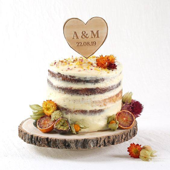 Heart Shaped Name Wood Board Rustic Wedding Cake Toppers