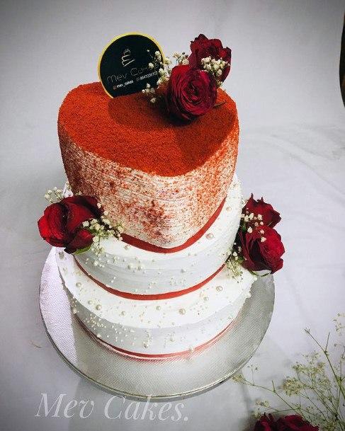 Heart Shaped Topping Red Velvet Wedding Cake