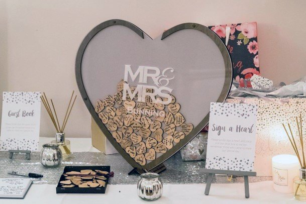 Heart Shaped Wooden Drop Box Wedding Guest Book Ideas