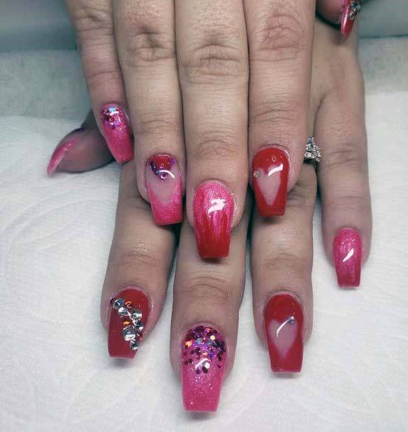 Heart Stencil And Sparkles Red And Pink Nails For Women