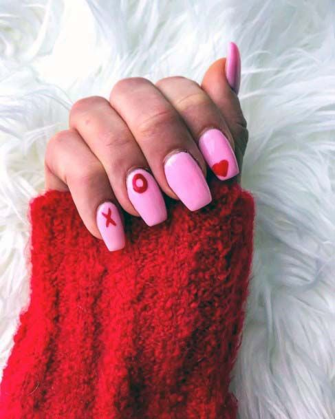 Heart Tic Tac Toe Red And Pink Nails For Women