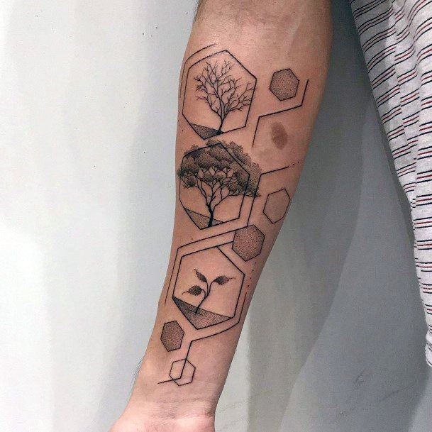Heaxognal Geometrical Plant Growth Tattoo Womens Wrists