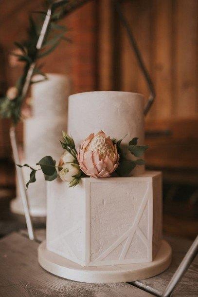 Hexagon White Wedding Cake