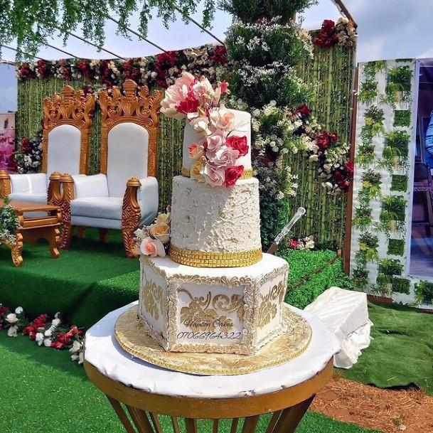 Hexagonal And Cylindrical 3 Tier Wedding Cake Women
