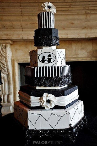 Hexagonal Black And White Halloween Wedding Cake