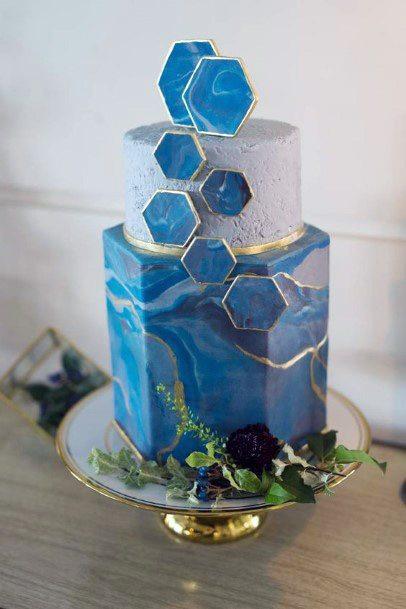 Hexagonal Blue Tiles Wedding Cake