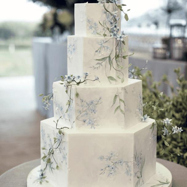 Hexagonal Marble Blocks Elegant Wedding Cakes Women