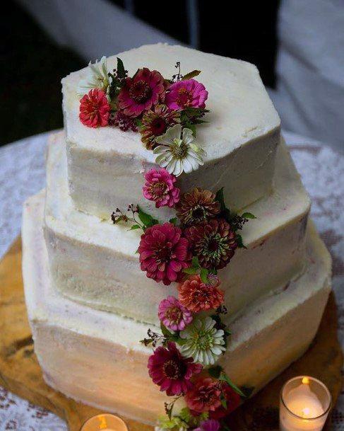 Hexagonal Red Velvet Wedding Cake