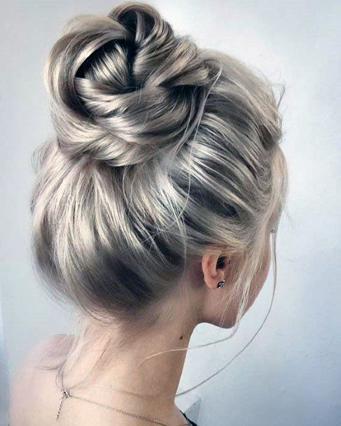 High Silver Toned Bun Easy Hairstyle Women