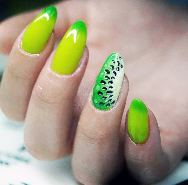 Highlighted Green Kiwi Nails Women
