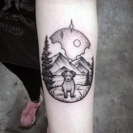 Hillside Dog Tattoo For Women