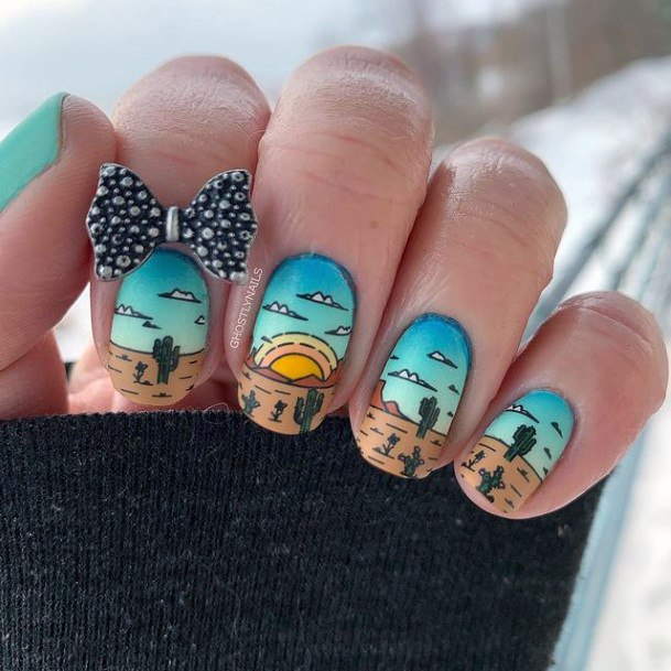 Holiday Beachside Cactus Blue Nails Women