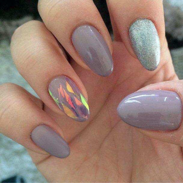 Hologram Grey Glass Nails Women