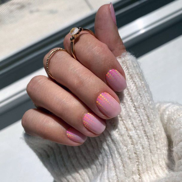 Holographic Dotted Pink Short Nails Women