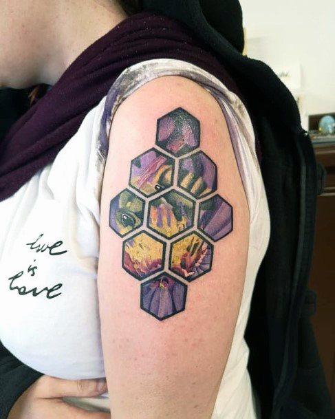 Honey Bee Purple Hive Tattoo Womens Arms