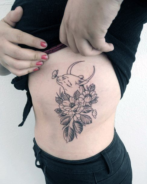Horned Cat And Flowers Tattoo Womens Torso