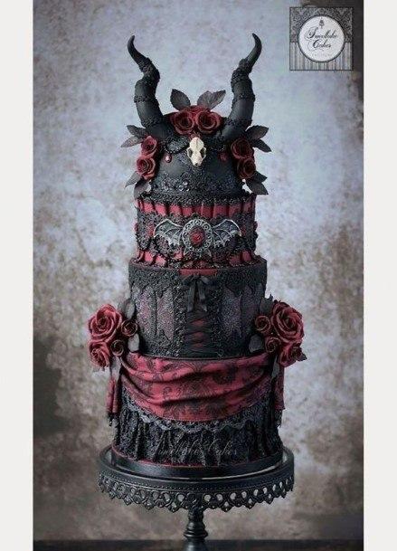Horned Halloween Wedding Cake