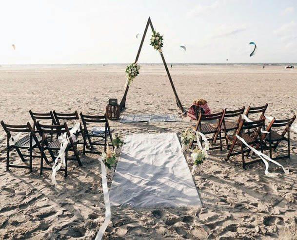 Hot And Sandy Beach Wedding Flowers Triangular Art